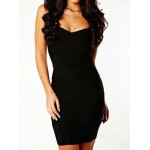 Stylish Women's Sweetheart Neckline Black Bandage Dress