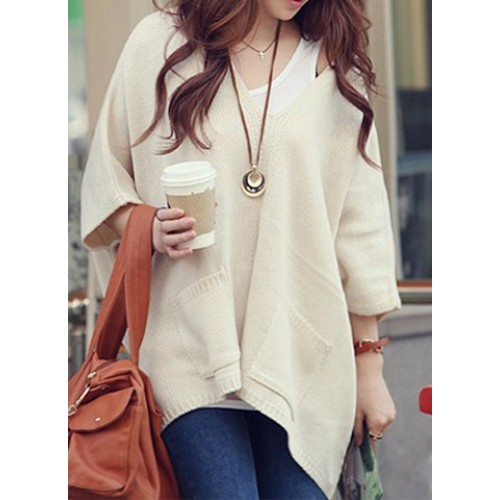 Stylish Women S V Neck Dolman Sleeve Loose Fitting Sweater Apricot