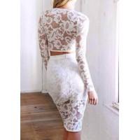Stylish Women's V-Neck Long Sleeve Lace Suit red white