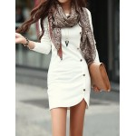 Trendy Buttons Design Long Sleeve Round Collar Solid Color Pullover Dress For Women white gray khaki black