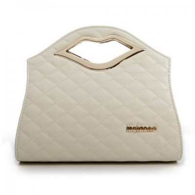 Trendy Women's Shoulder Bag With Lip and Checked Design white
