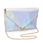 Trendy Women's Shoulder Bag With Solid Color and Chain Design silver