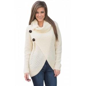 White Buttoned Wrap Cowl Neck Sweater Black Khaki Grey Coral