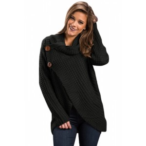 White Buttoned Wrap Cowl Neck Sweater Black Khaki Grey Coral