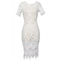 White Color Short Sleeve Round Collar Hollow Out Design Sexy Dress For Women lace