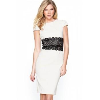 White Paper Dolls Lace Waistband Midi Dress with Belt Navy