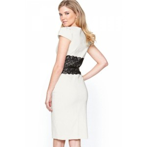 White Paper Dolls Lace Waistband Midi Dress with Belt Navy