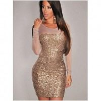 Women's Gold All-Over Sequined Sheer Long Sleeves Bodycon Club Dress