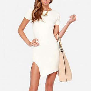 Women's Sexy Sau San Short Sleeve Crew Neck Asymmetrical Split Ends Mini Dress white