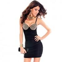 Women's Strap Beads Bodycon Mini Dress black