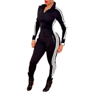 Active Side Stripe Print Long Sleeve Zippered Bodycon Jumpsuit For Women black
