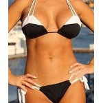 Alluring Lace-Up Halter Color Block Bikini Set For Women white black