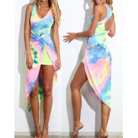 Alluring Plunging Neck Sleeveless Printed Asymmetrical Dress For Women