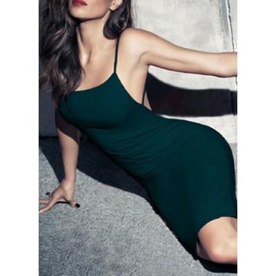 Alluring Spaghetti Strap Sleeveless Pure Color Open Back Dress For Women green