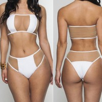 Alluring Strapless Sleeveless Solid Color Hollow Out Bikini Set For Women white
