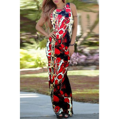 Attractive Python Printed Backless Bodycon Maxi Dress For Women