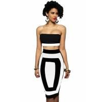 Black Bandeau Color-block Two Pieces Skirt Set