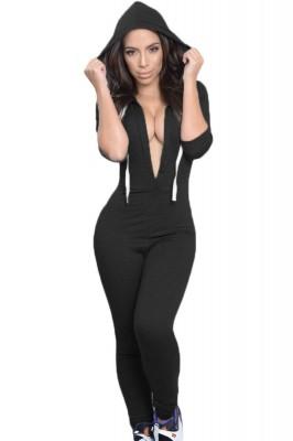 Black Drawstring Hooded Jumpsuit