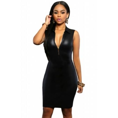5b2ea4c1299 Black Faux Leather Zip Front Bodycon Dress (Black Faux Leather Zip ...