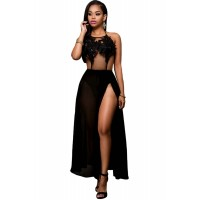 Black Floral Applique Sheer Bodysuit Dress