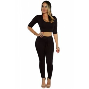 Black Hooded Crop Top with Pant Set