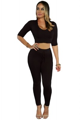 Black Hooded Crop Top with Pant Set