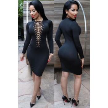 Black Lace-up V Neck Long Sleeve Bodycon Dress