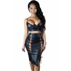 Black Leather Lux Skirt Set
