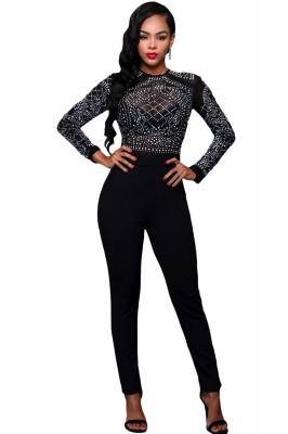 Black Long Sleeves Rhinestone Mesh Bodice Formfitting Jumpsuit