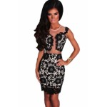 Black Mesh Lace Crochet Dress