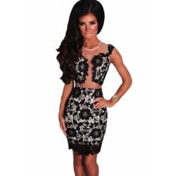 Black Mesh Lace Crochet Dress