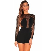 Black Net Long Sleeves Romper
