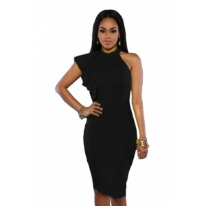 Black One Shoulder Ruffle Sleeve Midi Dress