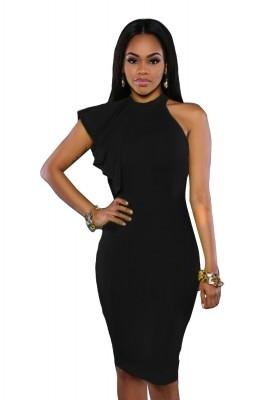 Black One Shoulder Ruffle Sleeve Midi Dress