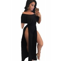 Black Ruffle Off Shoulder High Slit Wide Leg Party Jumpsuit pink