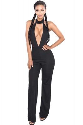 Black Sexy Cutout Mesh Insert Choker Jumpsuit