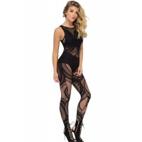 Black Sheer Determination Mesh Net Jumpsuit