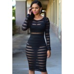 Black Sheer Stripes Bodycon Midi Dress