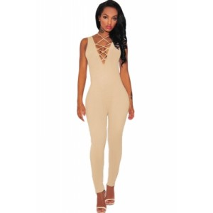 Black Thick Milk Silk Lace Up Jumpsuit orange nude
