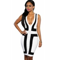 Black White Color-block V Neck Sleeveless Dress