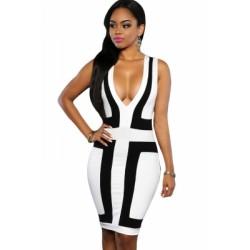 Black White Color-block V Neck Sleeveless Dress