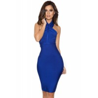 Blue Halter Bandage Dress