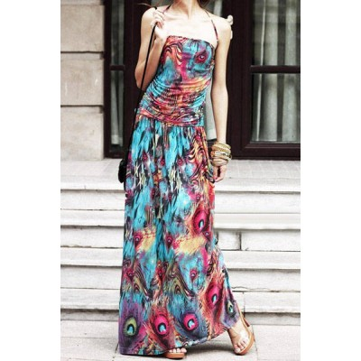 Bohemian Halter Sleeveless Printed Dress For Women purple blue