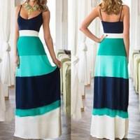 Bohemian Style Spaghetti Strap Color Block Dress For Women blue orange