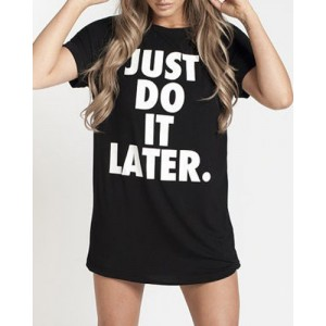 Brief Women's Round Neck Letter Printed Short Sleeve T-Shirt black
