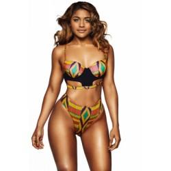Bright Multicolor Geometric Print Cut out High Waist Swimsuit