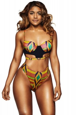 Bright Multicolor Geometric Print Cut out High Waist Swimsuit