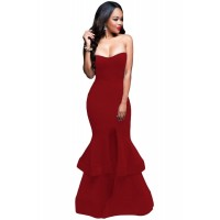 Burgundy Strapless Padded Ponte Gown blue black