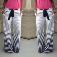 Casual Low-Waisted Drawstring Striped Loose-Fitting Pants For Women white