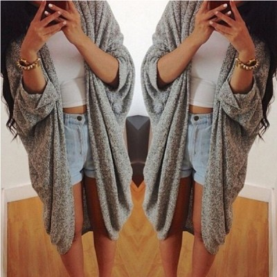 Casual Pure Color 3/4 Sleeve Loose Collarless Cardigan For Women gray